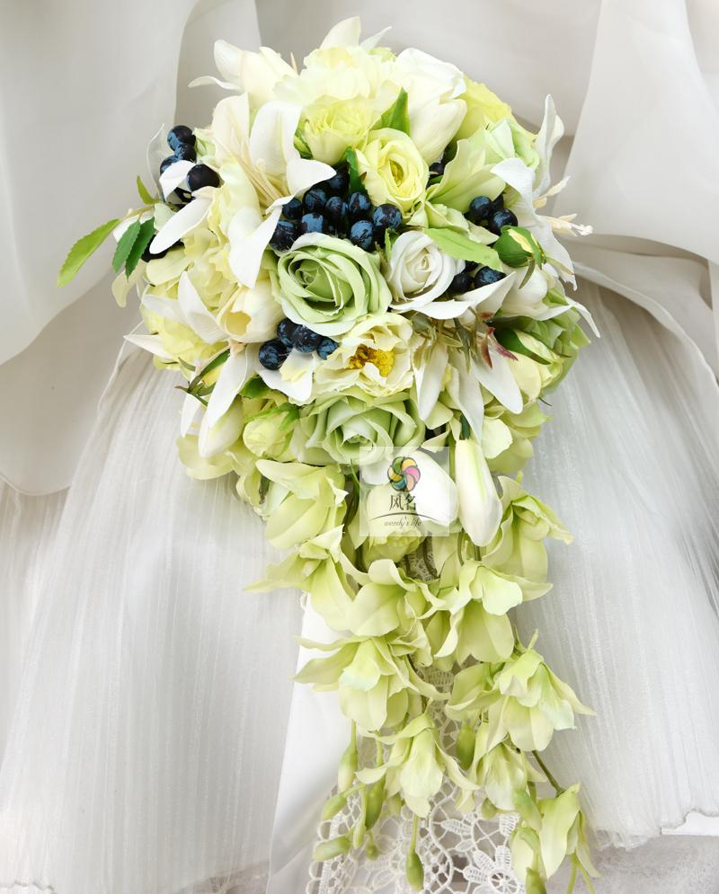 Waterfall Style Handmade Wedding Bridal Bouquet Green Artificial