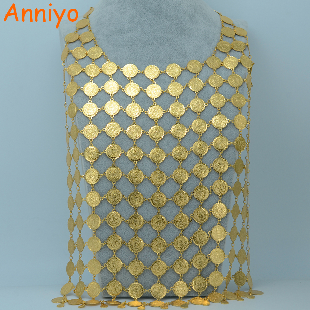 Anniyo TWO SIZE/Arab Coin Big Necklace for Women,Islam/Middle East Wealth Symbol Wedding Long Necklaces,Africa Jewelrr #016706 цена