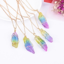 LUCKYAROMA 1Pc New Colorful Natural Rainbow Irregular Stone Crystal Pendant Necklace Special Party Gifts For Women Drop shipping