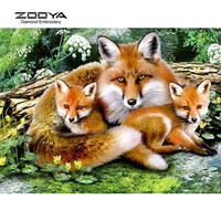 DIY Diamond Embroidery Animal Painting Cross Stitch Fox Family Home Decoration Full Mosaic Crafts 3d Kit