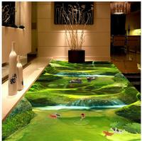 Modern Floor painting Natural green landscape river stone stream bathroom bedroom 3 d floor self adhesive PVC Wallpaper