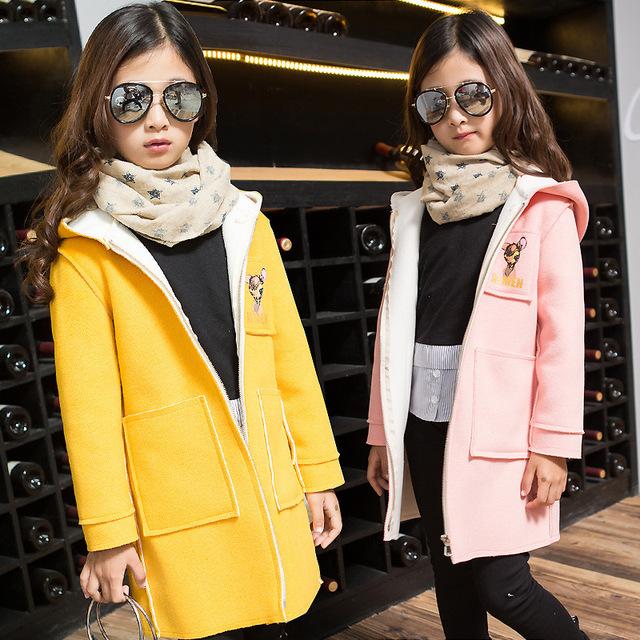 Outono inverno meninas fulvo pano novo casaco com capuz de lã de algodão das crianças kids clothing cinza amarelo rosa quente veados impressão