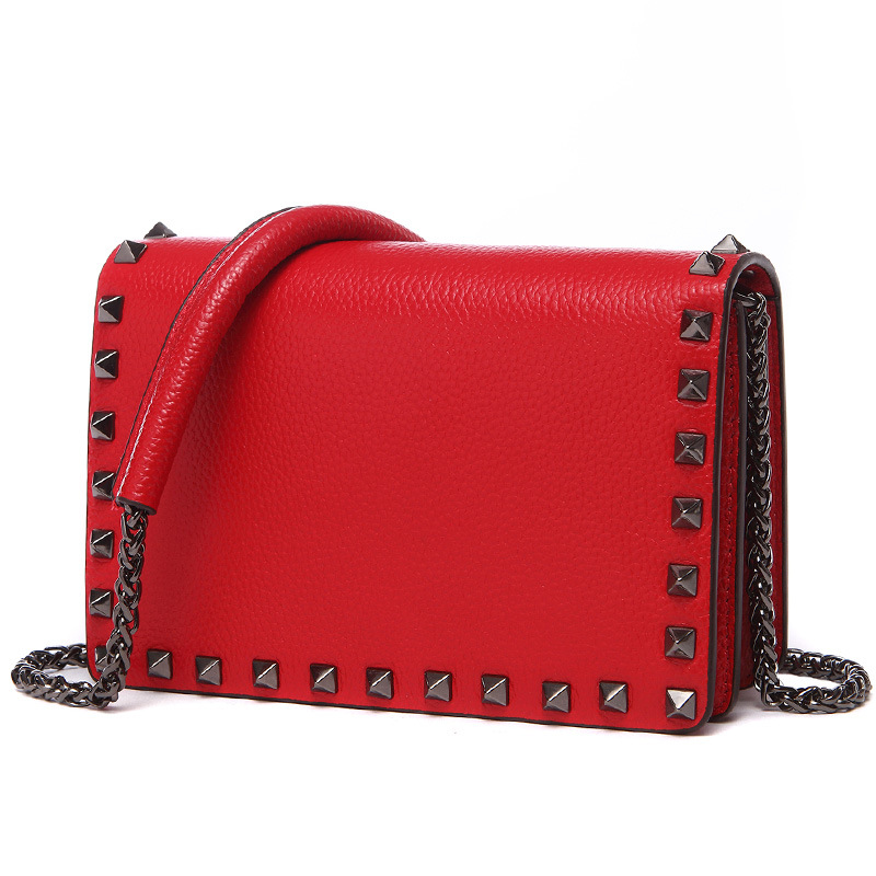 2019 Summer Genuine Real Leather Rivet Flap Chain Crossbody Shoulder Bag Famous Brand Ladies Handbags Fashion