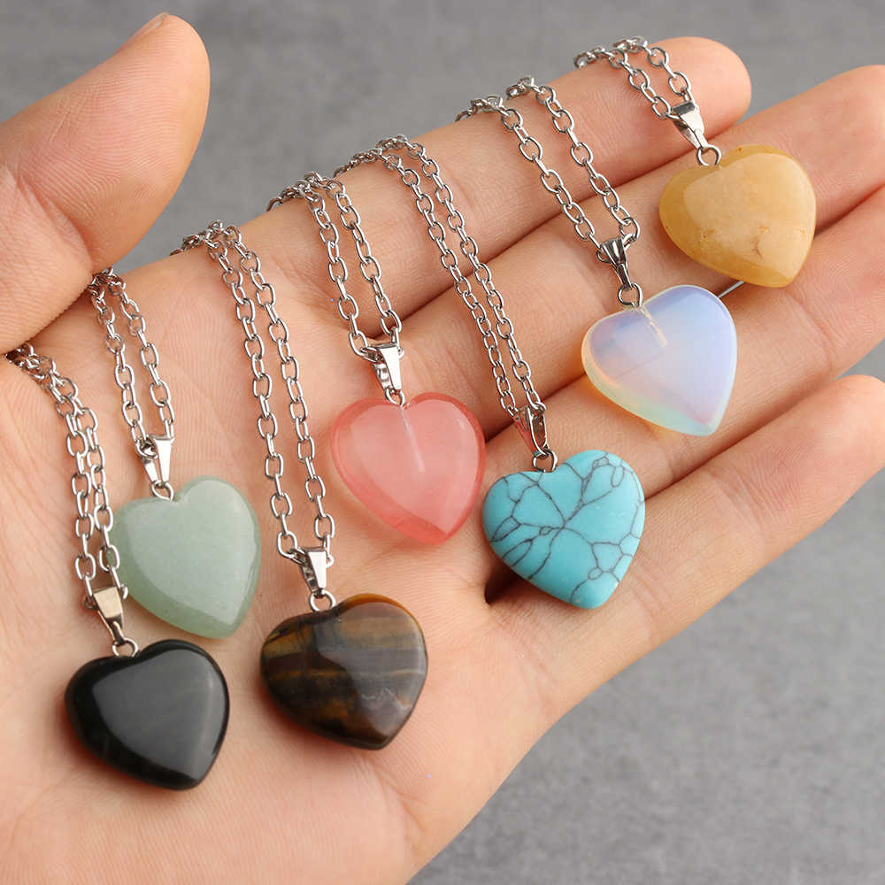 Love Heart Shape Gemstone Rock Natural Quartz Crystal Healing Chakra Stone Pendant Necklace DIY Home Decor Crafts