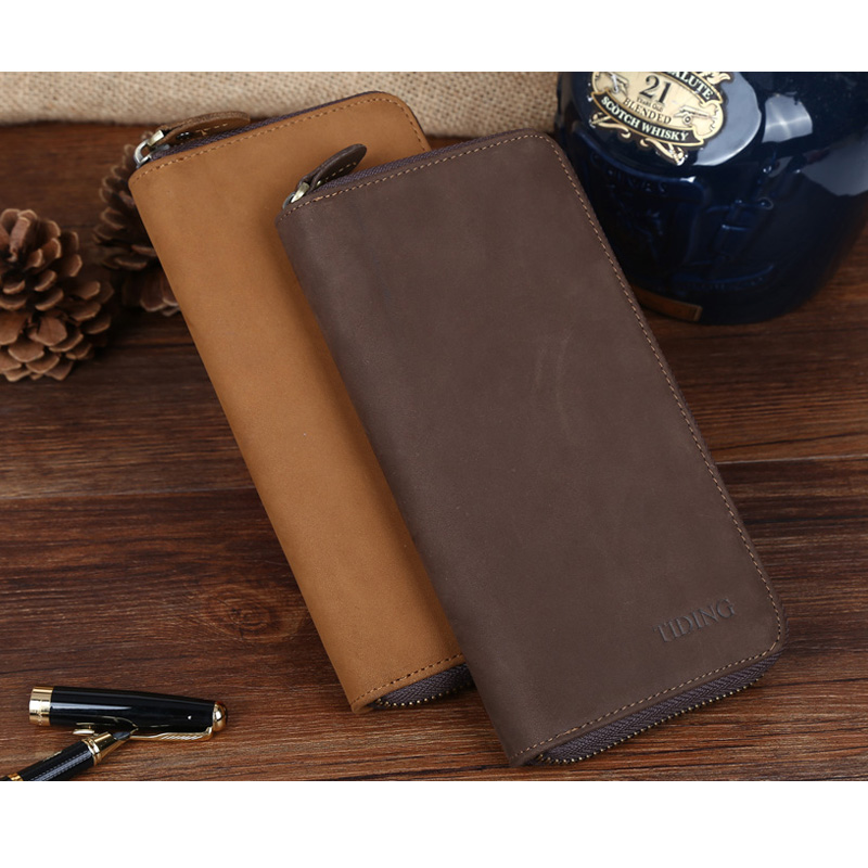 ФОТО TIDING Nubuck Leather Purse Long Wallet Clutch with Coin Pouch Card Holder Leather Case for iPhone 4090
