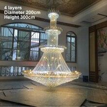 Современная хрустальная люстра освещение большой блеск K9 Led Золотая хрустальная люстра лампа высококлассная королевская гостиная отель