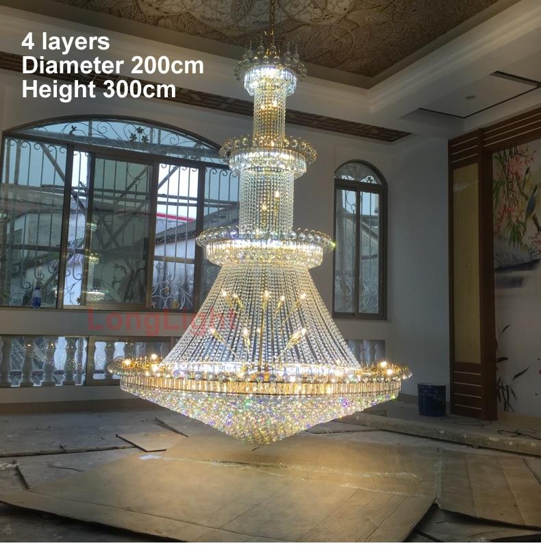 Modern Crystal Chandelier Lighting Large Lustre K9 Led Gold Crystal Chandelier Lamp Upscale Royal Living Room Hotel