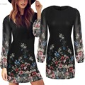 Women Spring Style 2016 Newest Shift Dresses Beautiful Black Long Sleeve Floral Print Round Neck Chiffon Short Dress