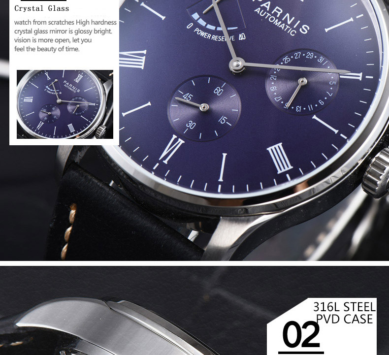 HTB1oy dMgHqK1RjSZFgq6y7JXXaL 2019 Luxury Man Parnis Power Reserve Automatic Watch Mechanical Self Winding Men Watches mekanik kol saati relogio automatico