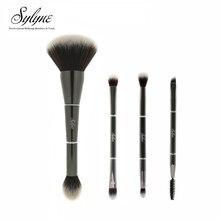 Sylyne 4 шт. набор кистей для макияжа 2 в 1 двухсторонние Металлические кисти для макияжа лица и глаз Кабуки для пудры теней для век бровей