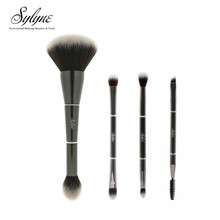 Sylyne 4pcs makeup brush set 2 in 1 double-ended Metal face