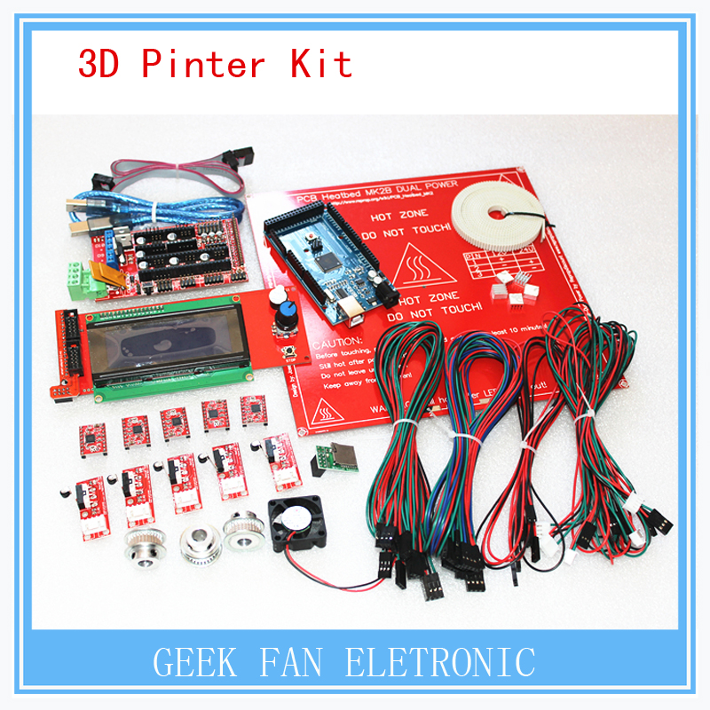 ФОТО New arrivel! a full set of mega2560 R3 LCD2004 management T5 12 teeth pulley and so on for pololu 3d printer set reprap