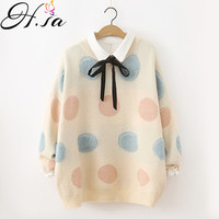 H.SA Women Sweet Cute Sweaters 2018 Oneck Dots Fashion Knit Jumpers Colorful Rainbow Dots Pullovers Loose Korean Winter Clothes