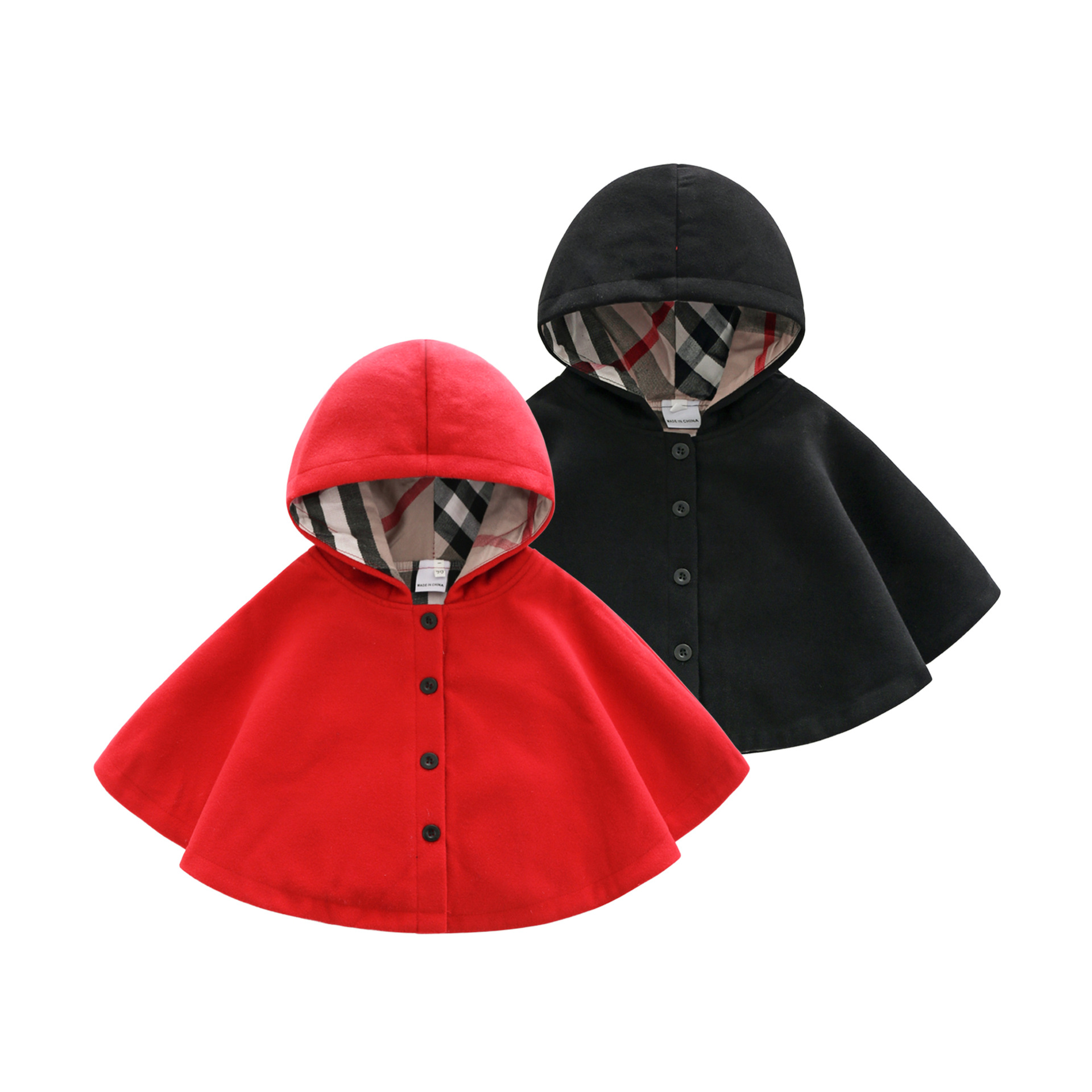 0546aadb36e 2019 winter spring fashion kids baby cape pattern black red cotton hooded  plaid girls Coat jackets