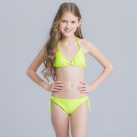 New Children Swimsuit Kid Solid Triangle Beachwear Bikini Set Girl Teenage Two Pieces Bathing Suit Child