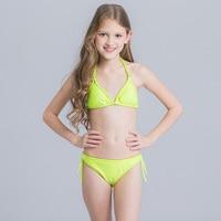 New Children Swimsuit Kid Solid Triangle Beachwear Bikini Set Girl Teenage Two Pieces Bathing Suit Child