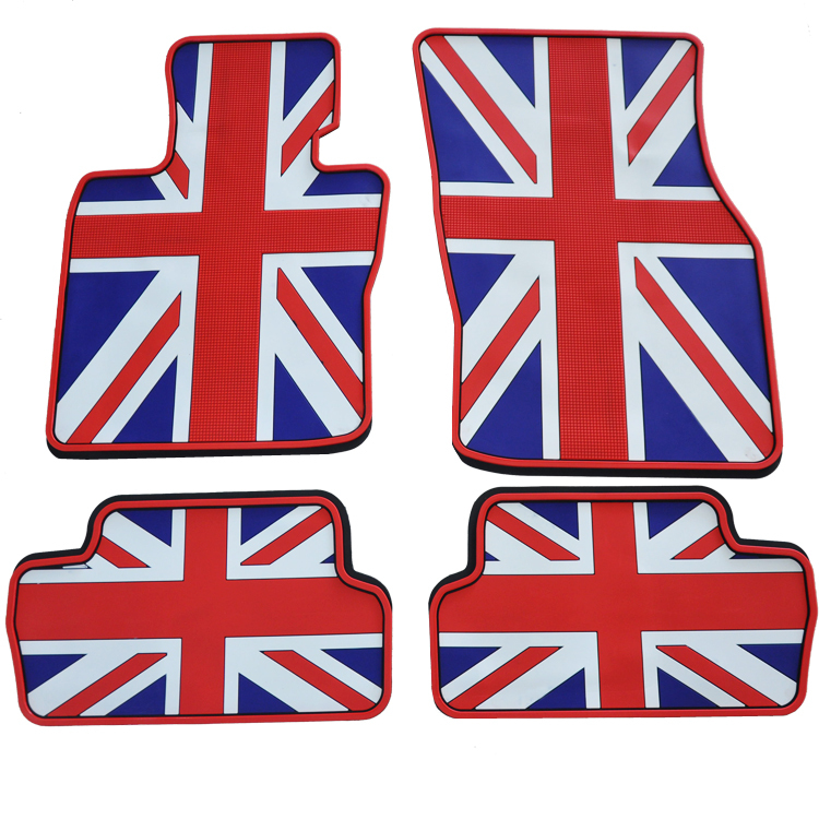 Union Jack Rubber Car Floor Mats Trunk Mats Set For F56