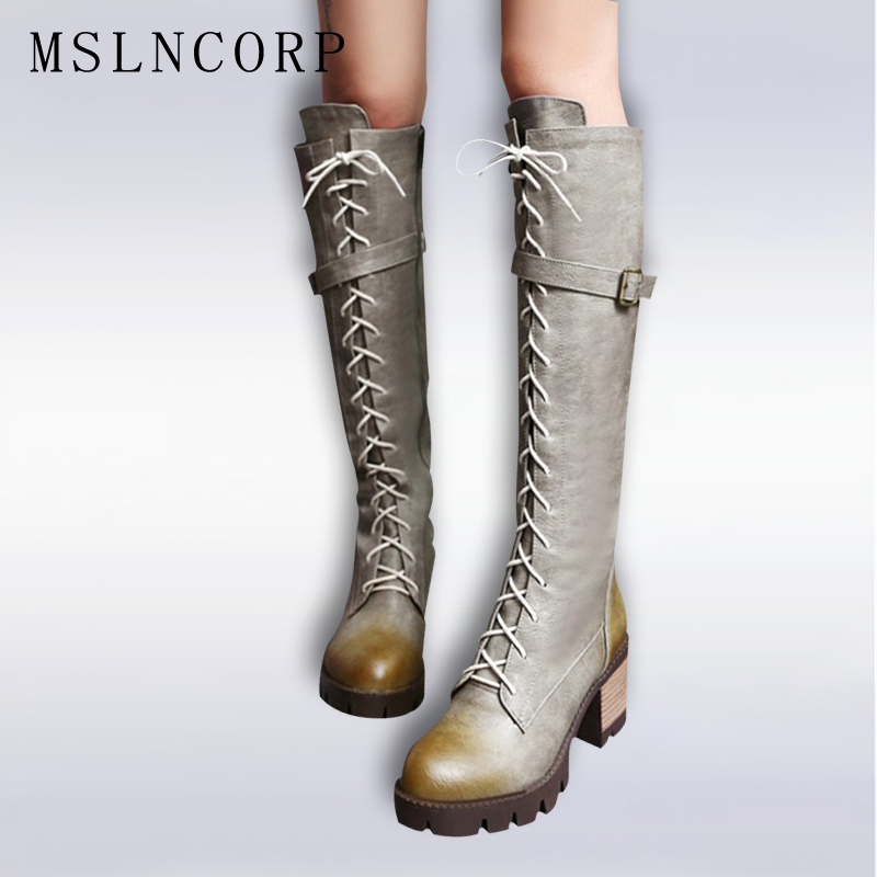 Big Size 34-43 high quality women boots high heels Lace Up motorcycle boots Square heel Platform knee high boots winter shoes asumer 3 colors new big size 34 43 women boots winter fashion lace up knee high boots sexy woman shoes snow motorcycle boots
