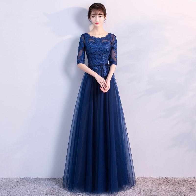 Robe De Soiree Navy Blue Long O-Neck Lace Appliques Evening Dress Banquet Host Vestido De Festa Prom Party Dress Formal Dresses