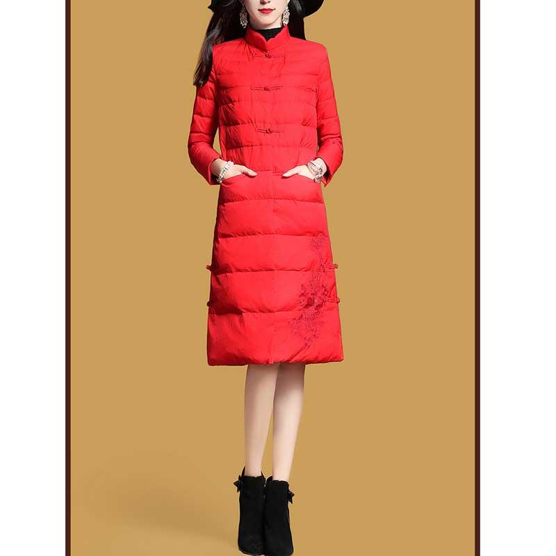 Bas red Veste Longue Black Solide 2017 Couleur Manteau Nouveaux Parka Survêtement Femmes Grande Vers Coton Taille Femelle Mince Broderie Le Hiver 4YxxISqwR