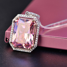 SHIPEI Retro Big Square Noble Pink Pendant Necklace Classic Fashion Dainty Shinny Necklace Jewelry for Women Gift
