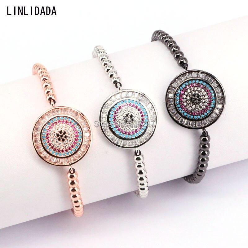 10Pcs Fashion Pave CZ Crystal Round Charm Braided Macrame Bracelet For Women Jewelry Gift