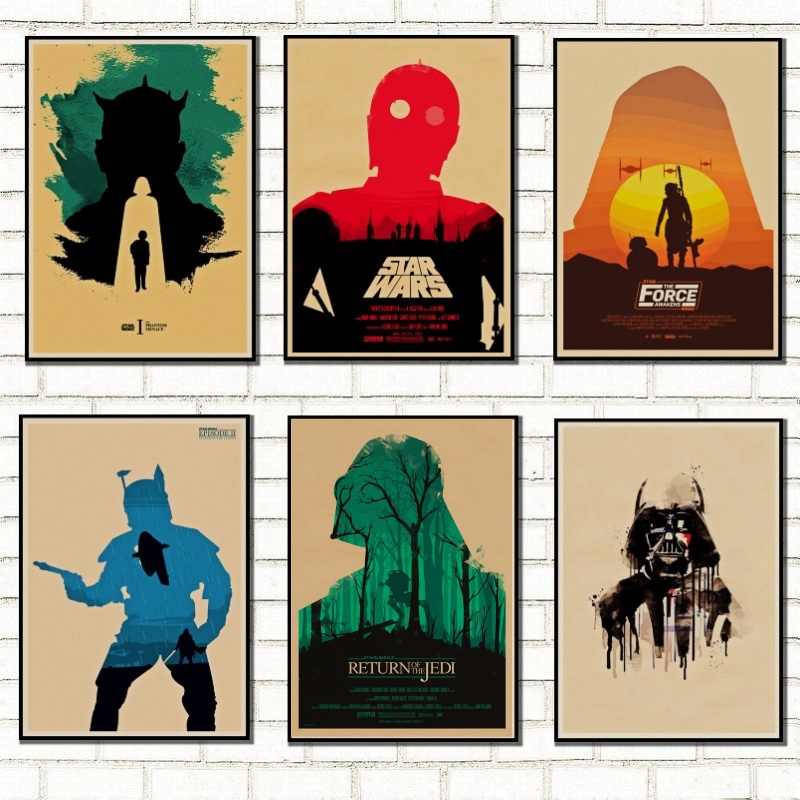 Classic Star Wars Poster Retro Artwork Basic Home Embellished Star Wars Kraft Posters Wall Stickers /5009