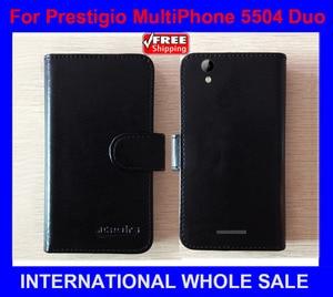 2016 Hot! 6 Colors Factory price Original Flip Leather Exclusive Case For Prestigio MultiPhone 5504 Duo Cover Phone Bag Tracking