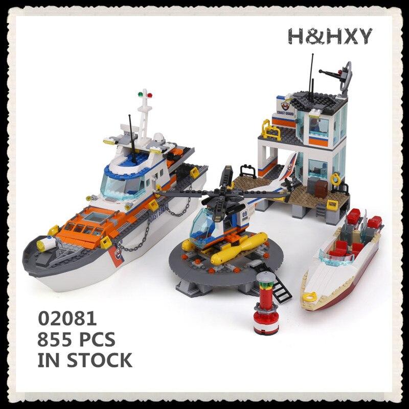 IN STOCK H&HXY New 02081 855Pcs City Series Police Coast Guard Headquarters Base Lepin Building Block  60167 Brick Toy boy gift цена и фото