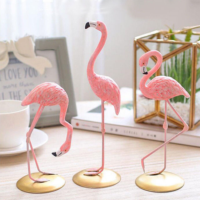 1 Piece Resin Pink Flamingo Home Decor Figure Gifts For Ins Style Statue Figurines Desktop