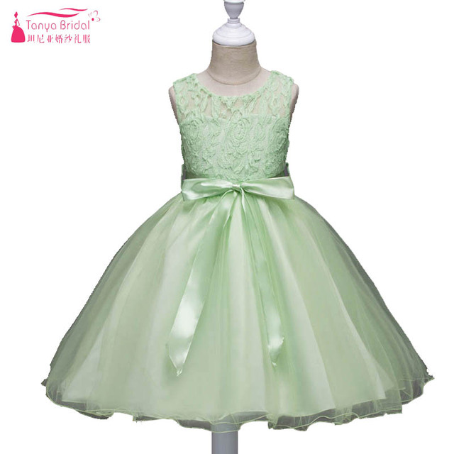 0a8922ffdb5 Sage Flower Girls Dresses For Wedding And Party First Communion Dresses For  Girls Lace Sheer Neck graduation gowns child ZF021