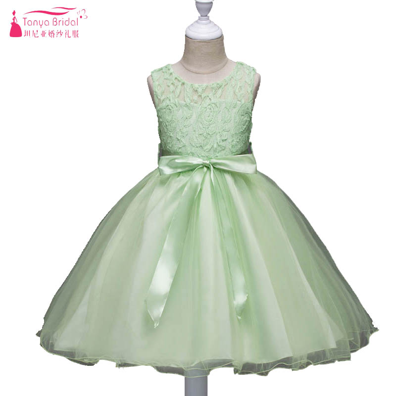 Sage   Flower     Girls     Dresses   For Wedding And Party First Communion   Dresses   For   Girls   Lace Sheer Neck graduation gowns child ZF021