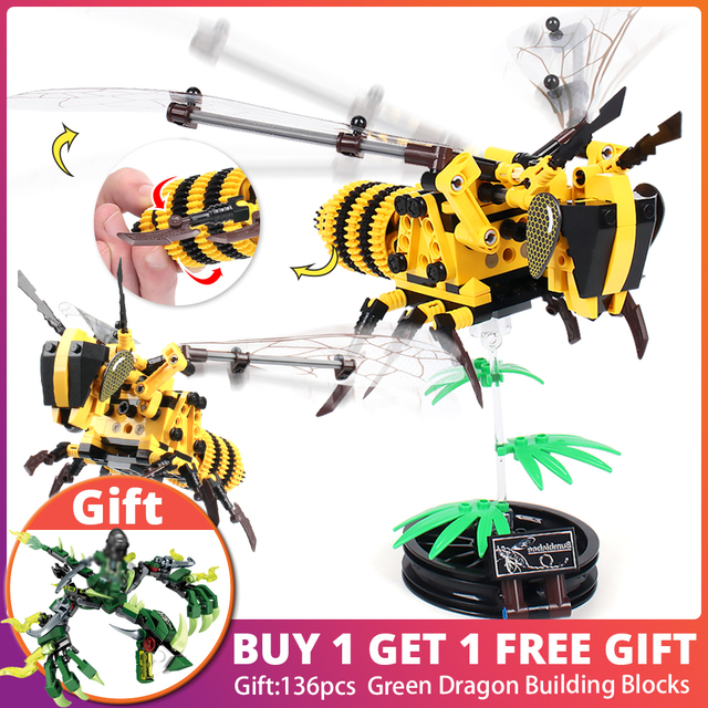 236pcs Simulated insect DIY Bee Wasp model Building Blocks Compatible dislegoingly Technic Bricks Educational Toys for Children