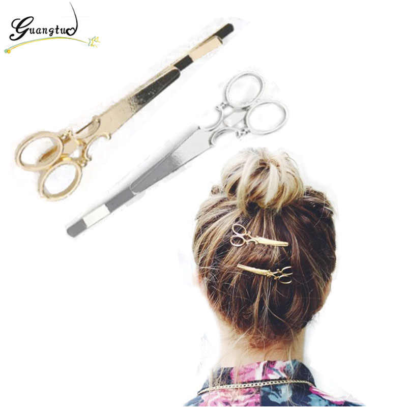Fashion Simple Head Jewelry Hair Pin Gold Scissors Clip For Hair Tiara Barrettes Accessories Headdress Jewelry Bijoux