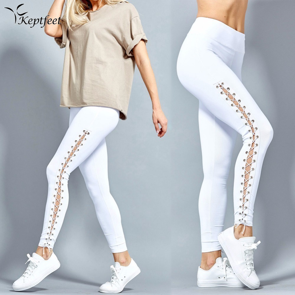 2018 Sexy Side Cross Hollow Bandage Yoga Pants High Waist Women Sports Leggings Fitness Slim Jogger Running Tights Gym Trousers