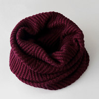 Top Quality Warm Wool Ring Scarf 2017 Winter Soft Cozy Solid Color Women Scarf High Fashion Neck Warmer Knitted Scarf 6 Colors