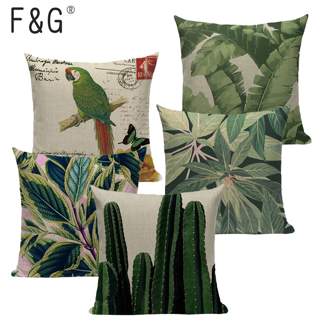 Tropical Decoration Pillow Cover Green 45 45 Outdoor Cushions