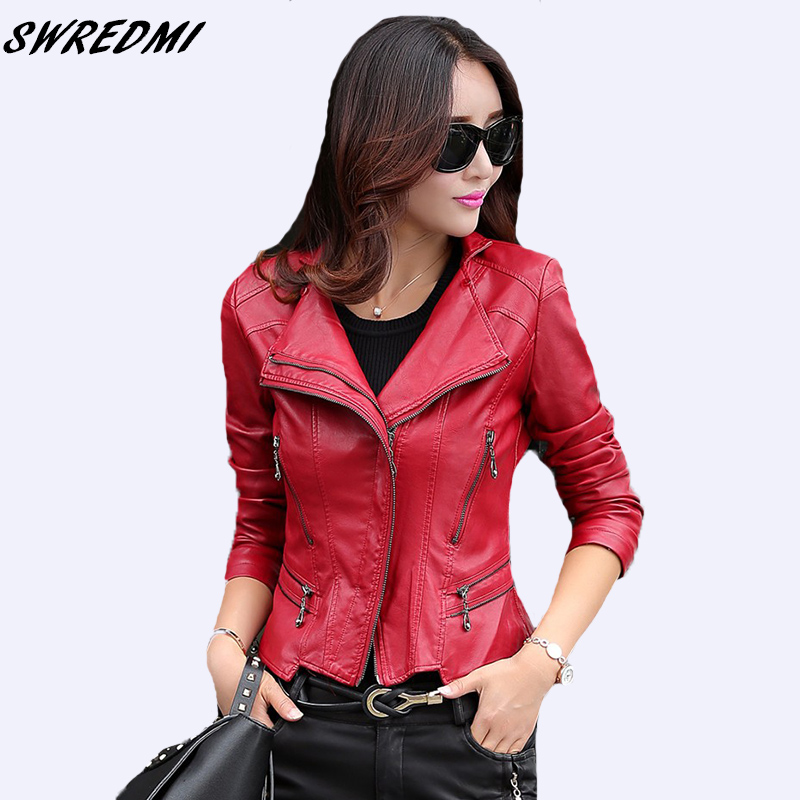 SWREDMI Fashion Mandarin Collar Women   Leather   jackets 2018 Spring Autumn Ladies   Leather   Clothing Slim Motorcycle   Leather     Suede