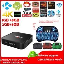 S905X T95M TV Box Amlogic 1G + 8B 64Bit Quad Core Android 6.0 elegante 4 K HD Media Player Incorporado en 2.4G WiFi Set Top caja