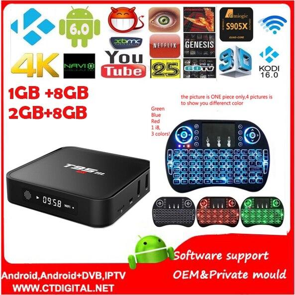 T95M TV caja amlogic S905X 1g + 8B Quad Core 64Bit Android 6.0 Smart 4 K HD Media Player construido en 2.4g WiFi Set Top Box