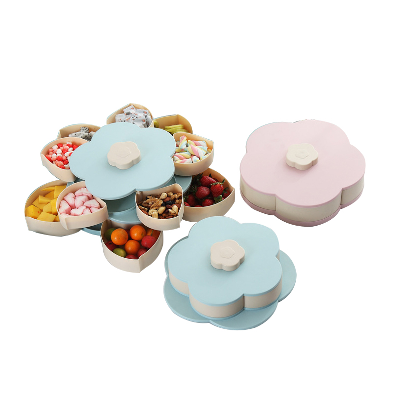 2019 New Hot Double Dried Fruit Storage Box Petal Fruit Plate Candy Storage Box 10-grid Nut Snack Rotating Christmas Organizer