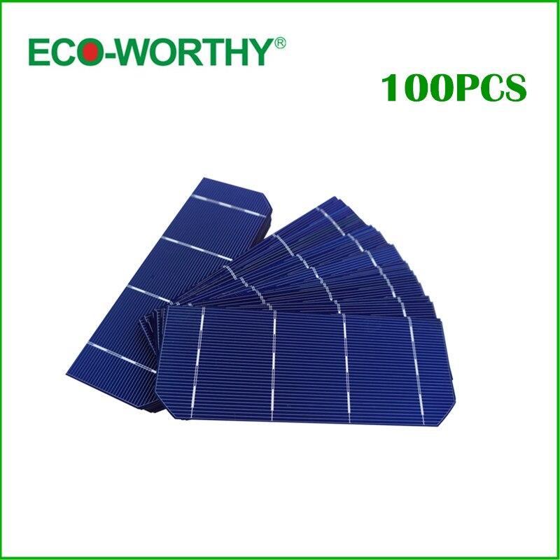 Hot Sale 100pcs 1.8W Solar Cell Grade A 156*58.5mm Photovoltaic Mono Monocrystalline Silicon Solar Cell 6x2 for DIY Solar Panel