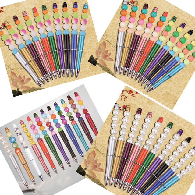 10pcs/lot Plastic Beadable Pen Bead Pens Ballpoint Pen Gift Ball Pen Kids party Personalized Gift Wedding Gift For Guests XMAS 1