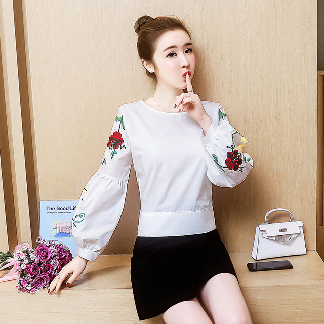 Embroidered women shirt bow striped Long sleeves blouses  1