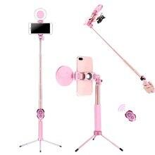 Anillo de luz 4 en 1 extensible para Selfie, 1,7 m, trípode, anillo de luz LED para Selfie con monópode para teléfono inteligente