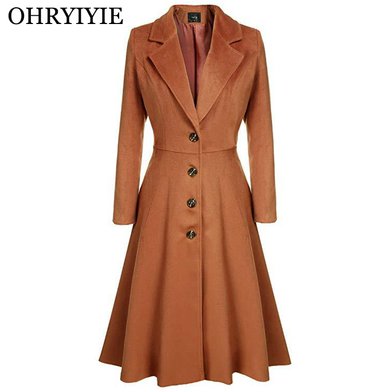 OHRYIYIE Spring Autumn Single Breasted Trench Coat Women 2019 Casual Long Outwear Female Slim Trench Coat For Women Overcoats