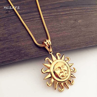 New Mens Jewlery Hip Hop Round Sun Face Piece Pendant Bling Snake Chain Gold Color Chain Necklace Alloy Hipsters Gift