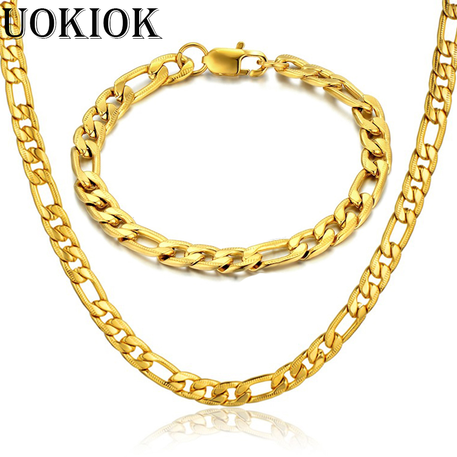 7MM Mens Boys Figaro Link Bracelet & Chain Set Gold Color Stainless Steel Hip Hop Necklace Chain Jewelry Sets S573