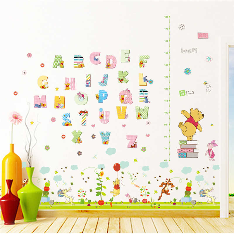 Cartoon Winnie The Pooh Height Measure Wall Stickers For