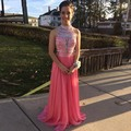 Charming Coral High Neck Sleeveless Chiffon Cut Out Back A Line Floor Length Prom Dress With Beaded Bodice